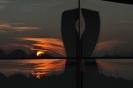 BMW-Welt - Spiegelung Sonnenuntergang